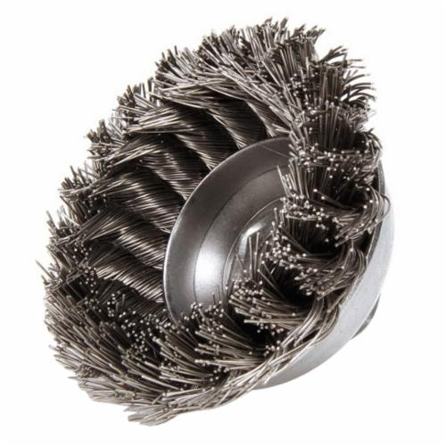 Mighty-Mite™ 13156 Single Row Cup Brush, 3-1/2 in Dia Brush, 5/8-11 UNC Arbor Hole, 0.023 in Dia Filament/Wire, Standard/Twist Knot, Steel Fill