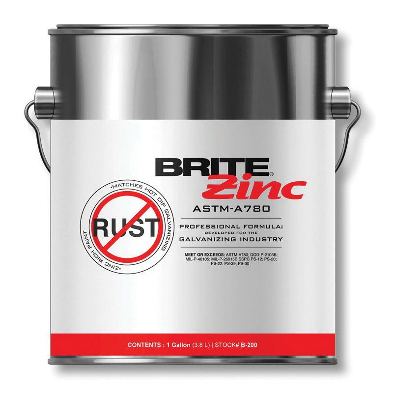 Weld-Aid® B-100 BRITE® ZINC® Cold Galvanizing Compound, 12.5 oz, Gray, 40 sq-ft, 69% Zinc Metal, Metallic