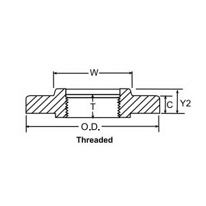 Weldbend® 141-040-000 Flat Face Flange, 4 in, Carbon Steel, Threaded, 150 lb, Domestic