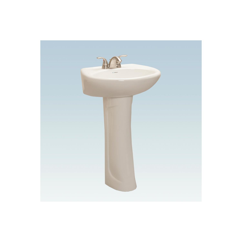 Western Pottery LAV-250-1-W Lavatory Sink, Oval, 22 in W x 18-1/2 in D x 34 in H, Pedestal Mount, White