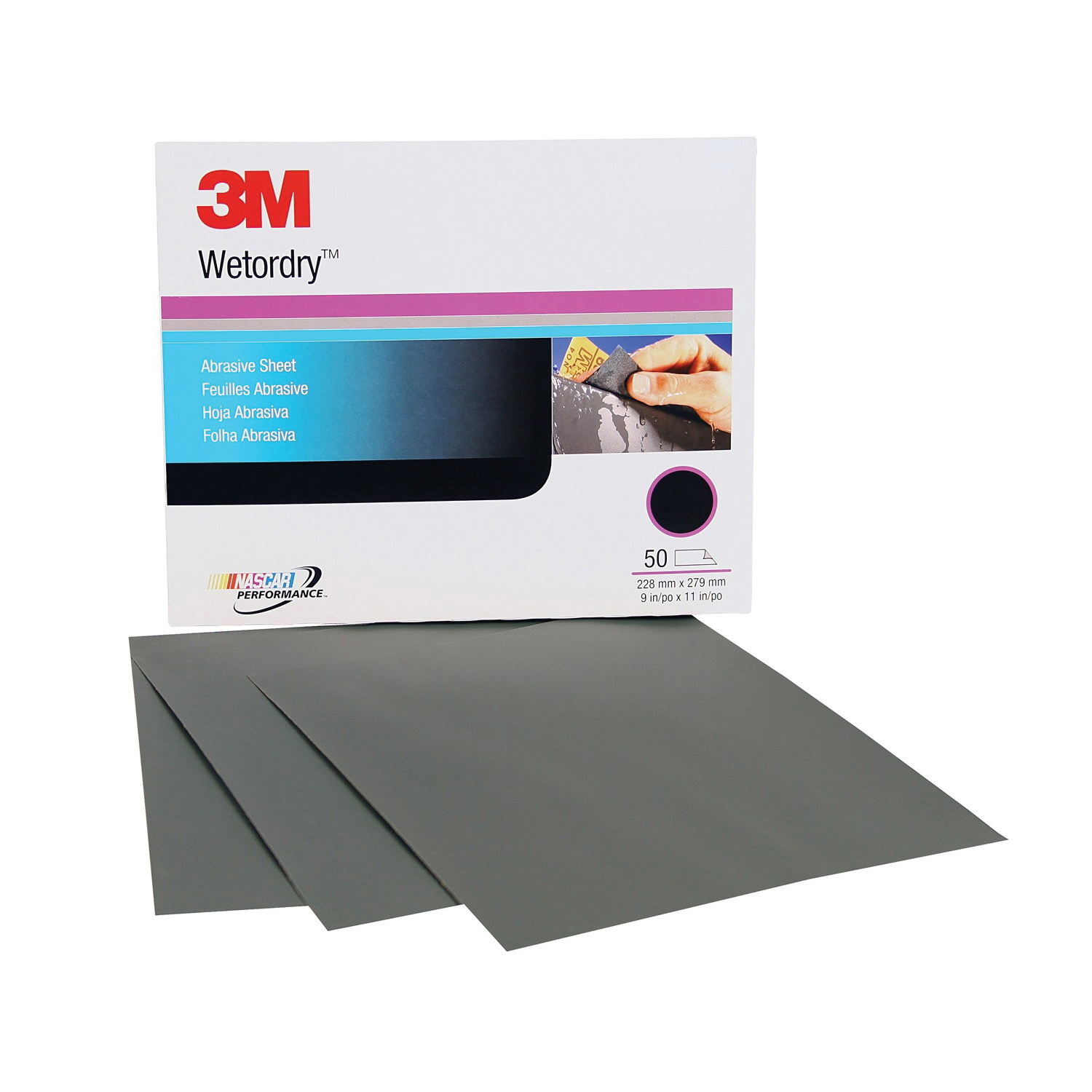 Wetordry™ 051131-02032 Waterproof Coated Sanding Sheet, 11 in L x 9 in W, P1500 Grit, Fine Grade, Silicon Carbide Abrasive, Paper Backing