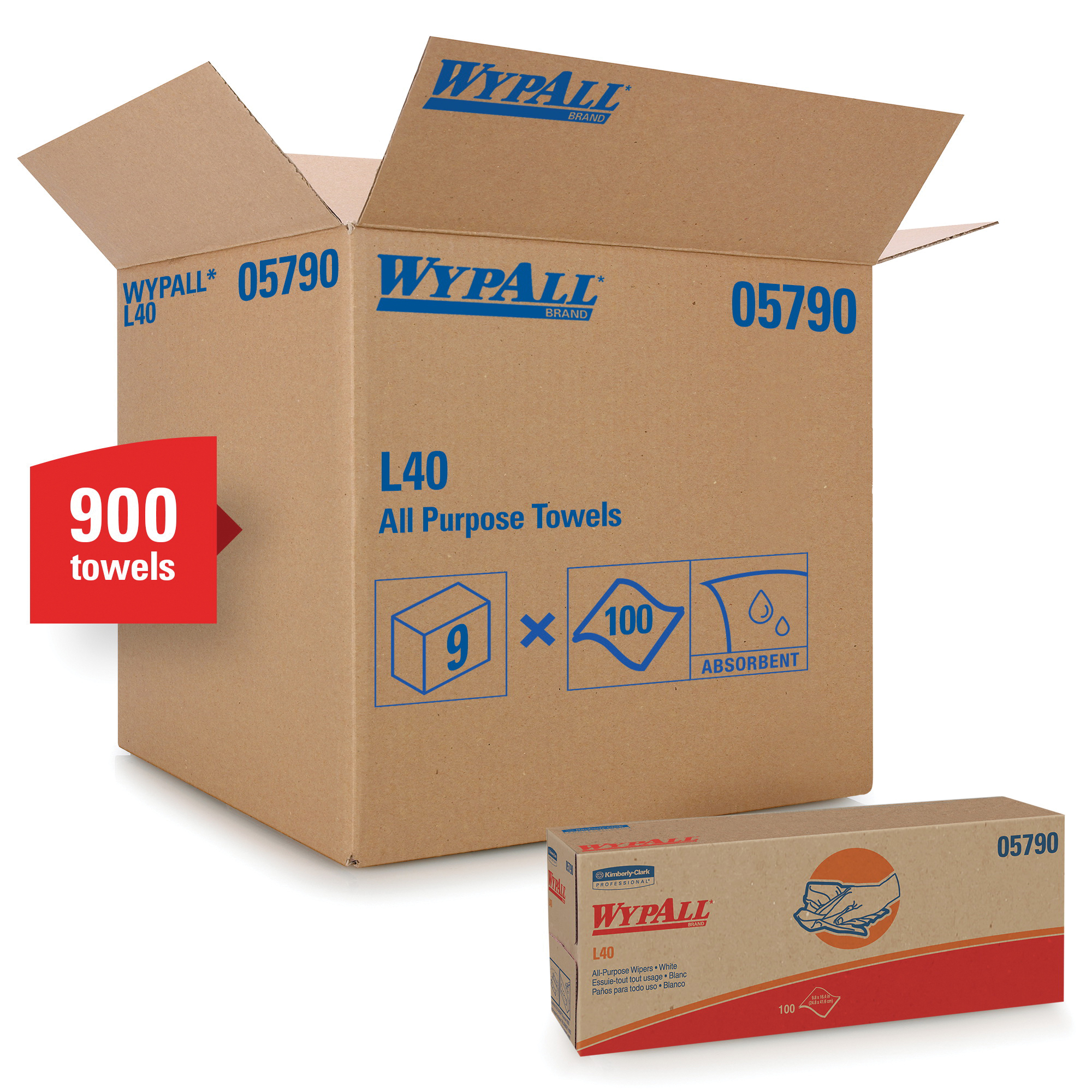 WypAll* 05701 L40 Utility Wipes, 12-1/2 x 12 in, 56 Sheets Capacity, White