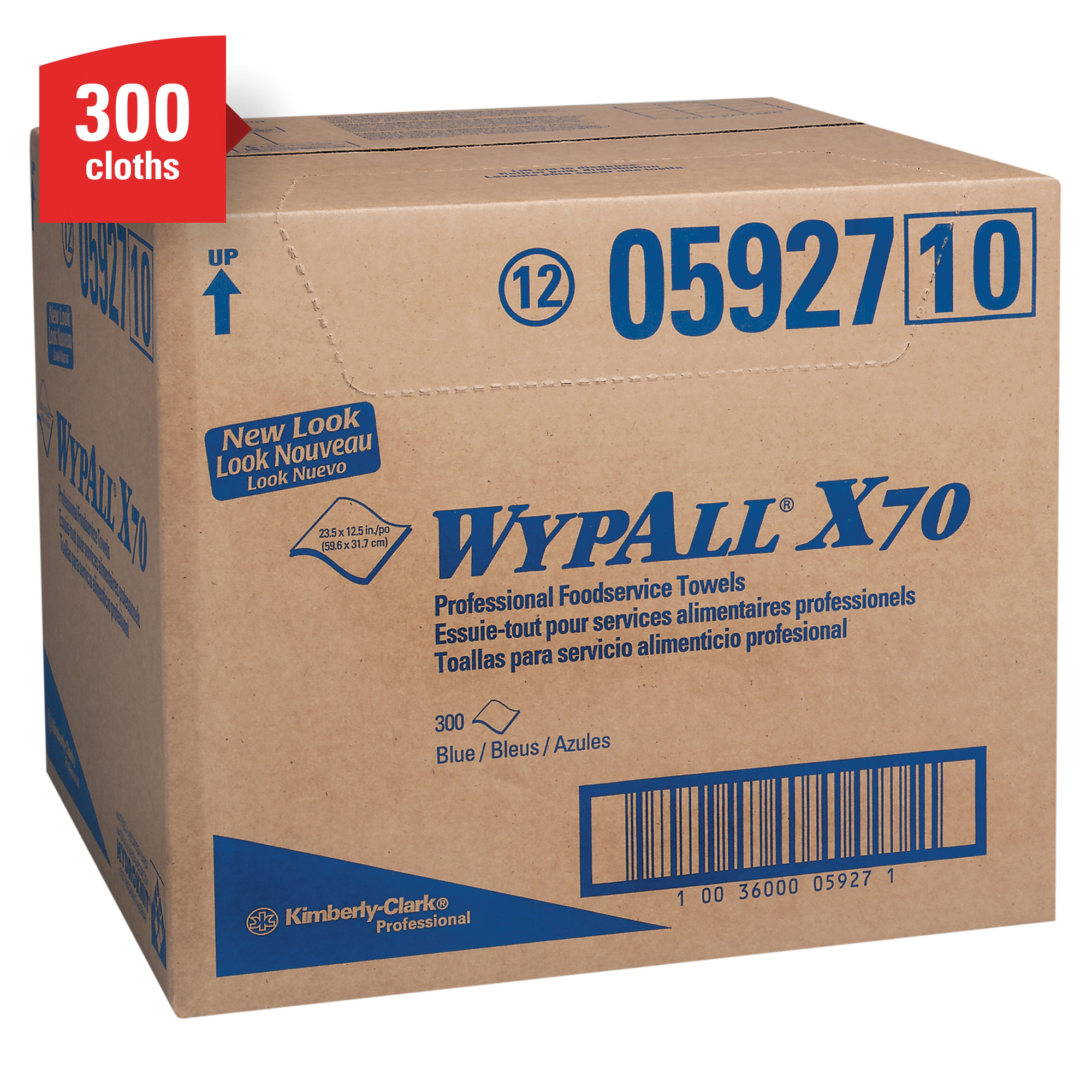 WypAll* 35431 X60 Lightweight General Purpose Wiper, 13.4 x 19.6 in, 130 Sheets Capacity, Hydroknit*, Blue
