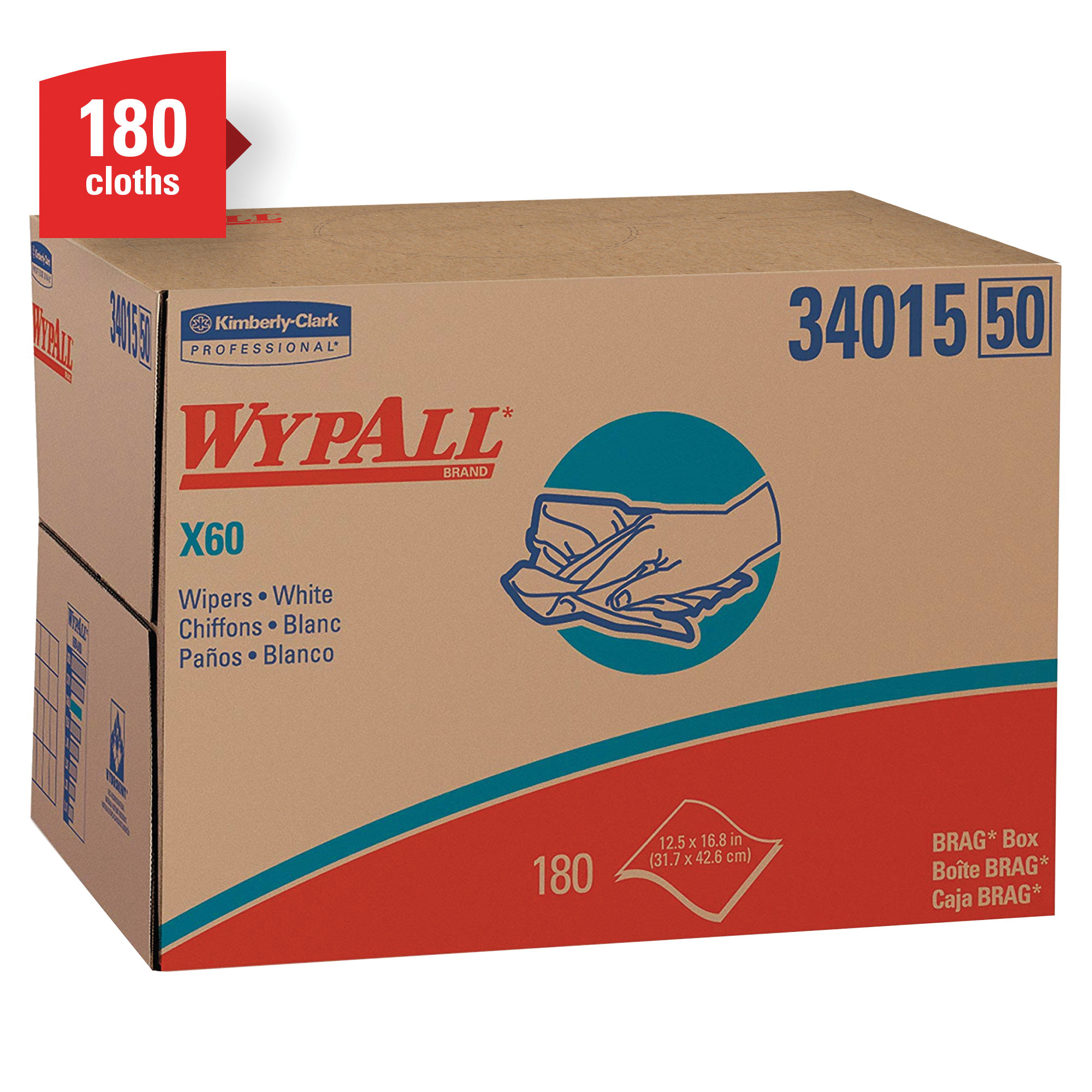 WypAll* 05812 WypAll* L30 Medium Duty Dry Wiper, 12-1/2 x 12 in, White