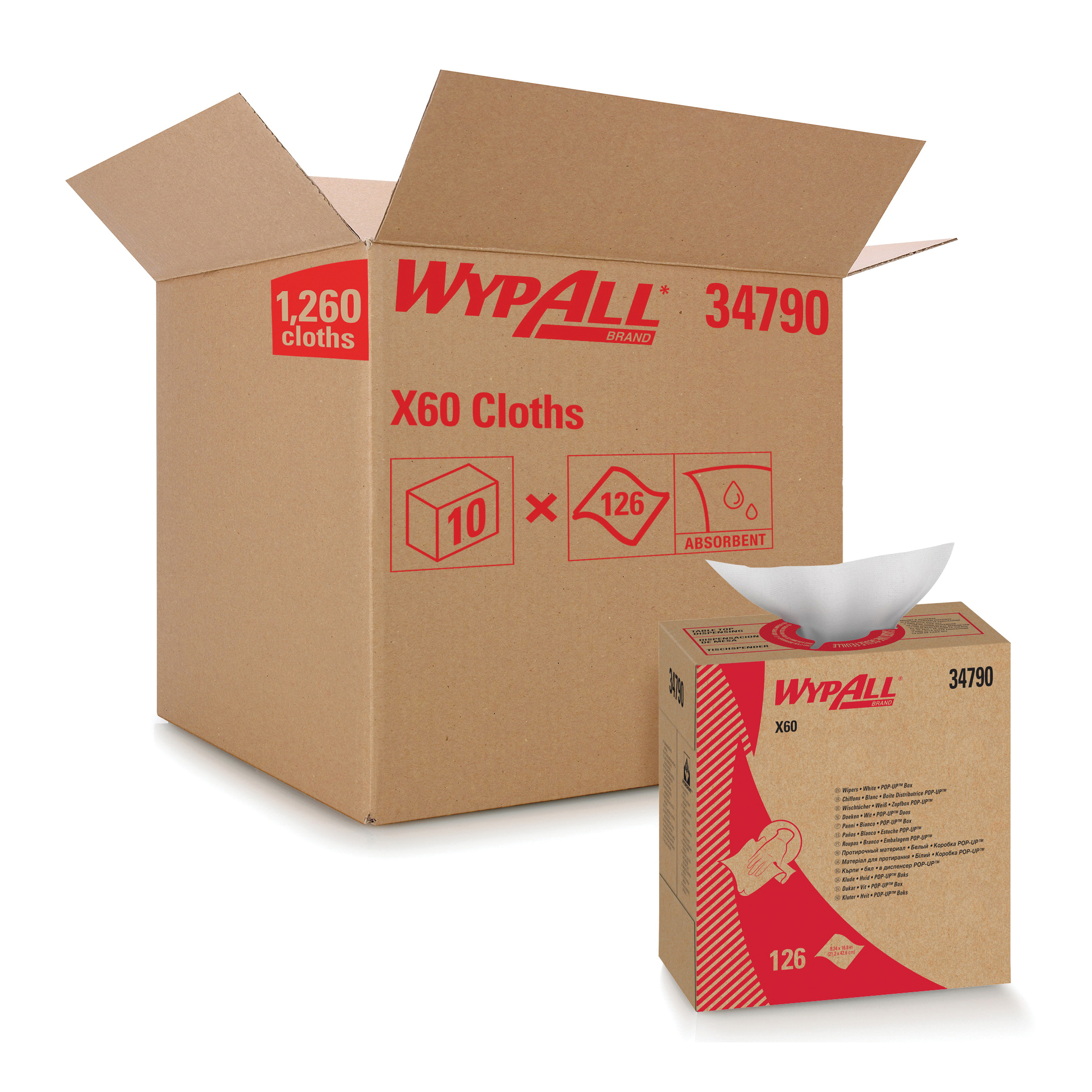 WypAll* 34015 X60 Lightweight General Purpose Wiper, 16.8 x 12.5 in, 180 Sheets Capacity, Hydroknit*, White