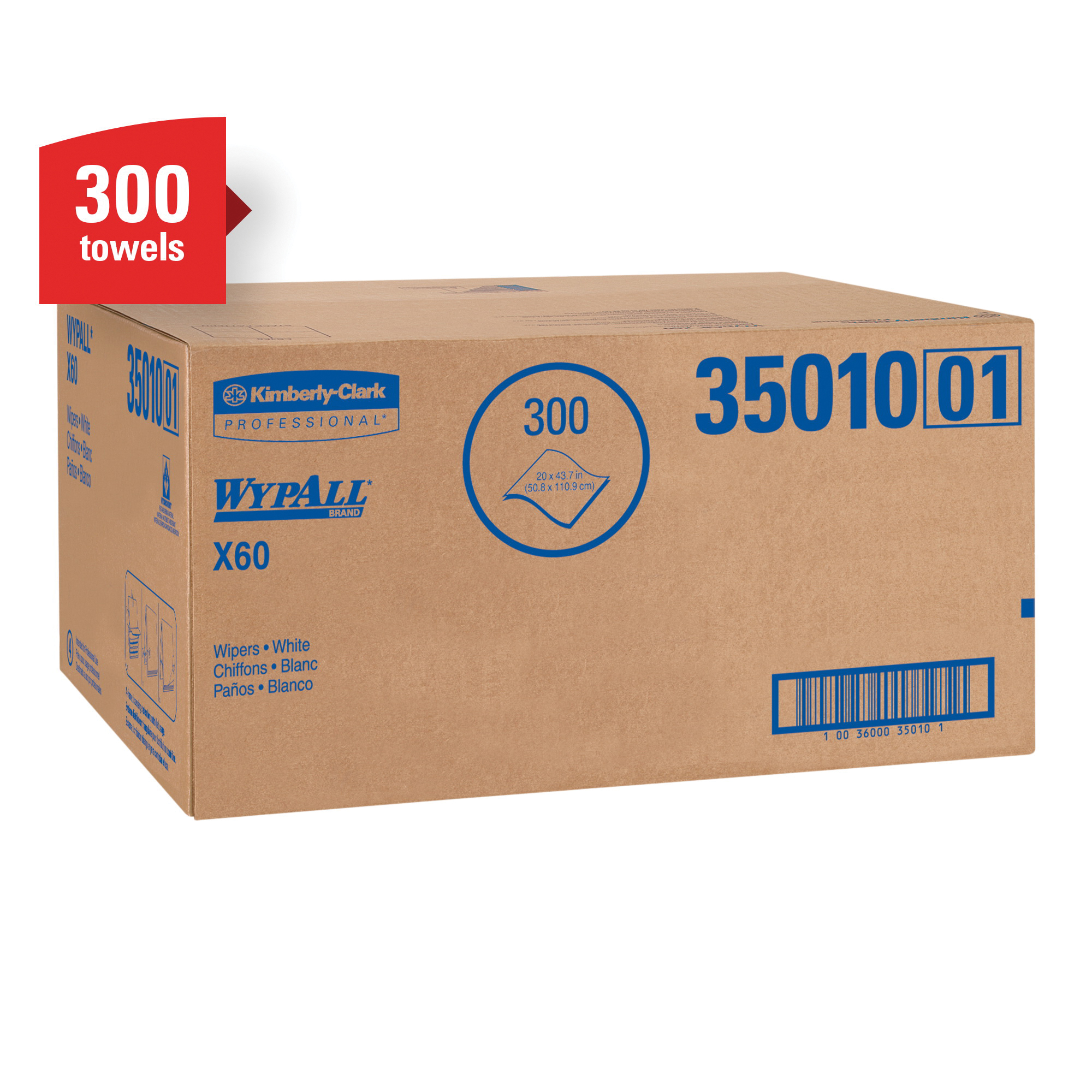 WypAll* 34965 X60 Lightweight General Purpose Wiper, 13.4 x 12.5 in, 1100 Sheets Capacity, Hydroknit*, Blue