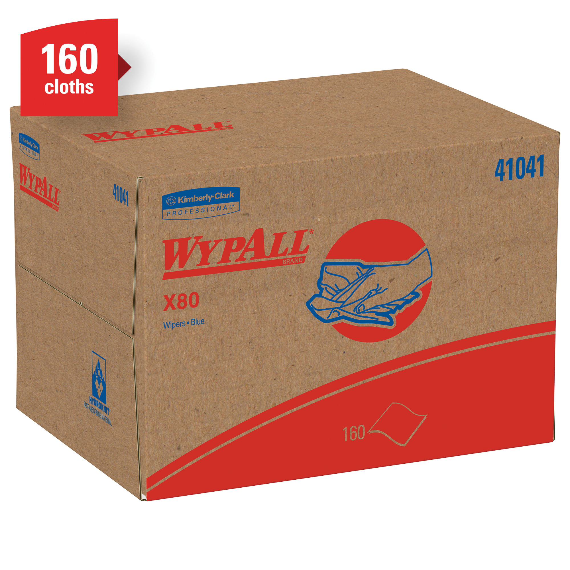 WypAll* 41029 X80 Disposable Wiper, Hydroknit*, Red