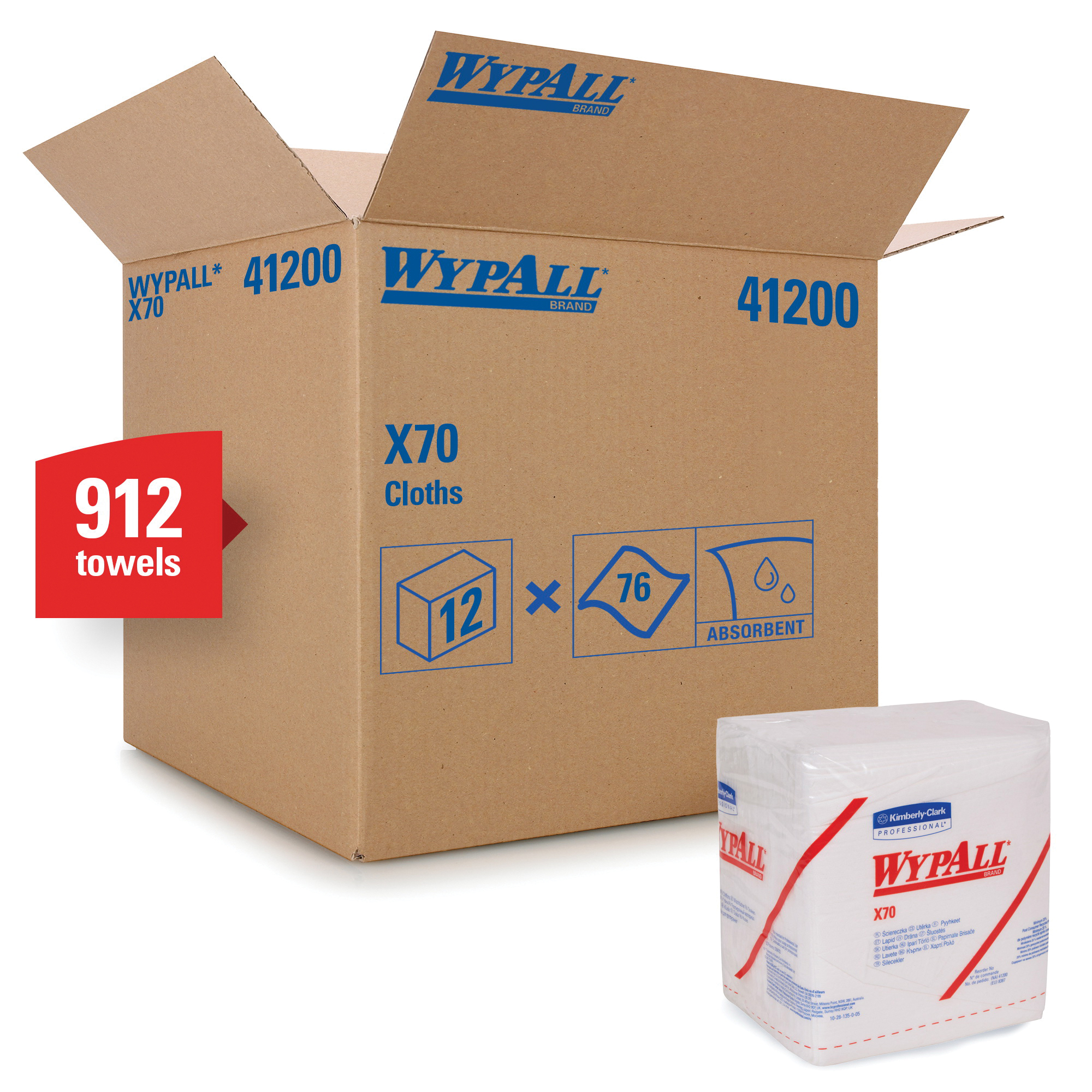 WypAll* 41300 X70 Heavy Duty Industrial Disposable Wiper, 152 Wipes, Hydroknit*, White
