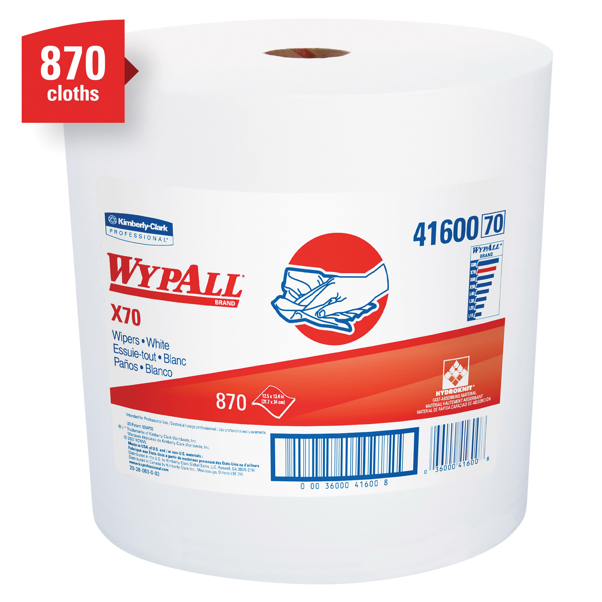 WypAll* 41455 X70 Long Lasting Reusable Cleaning Wiper, 9.1 x 16.8 in, 100 Sheets Capacity, Hydroknit*, White