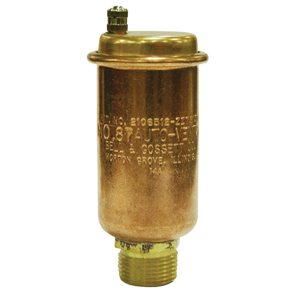 Bell & Gossett 113021 Automatic Air Vent, 3/4 x 1/2 in, FNPT x MNPT, 150 psi, Brass Body