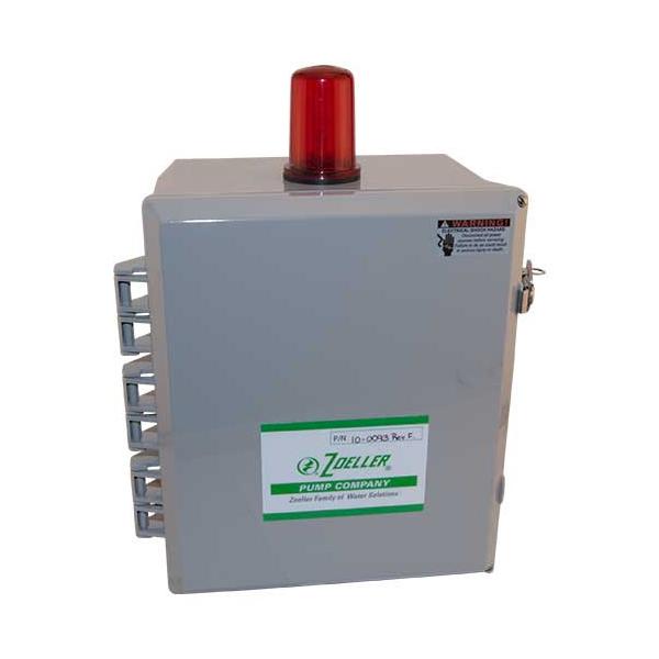 Zoeller® 10-0093 Duplex Alternator Electrical Control Panel, 115/200/230 VAC, 0 to 20 A, 12 in H x 10 in W x 6 in D, For Use With Single Phase Duplex Installation Pump