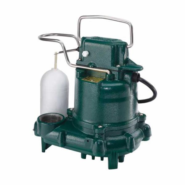 Zoeller® 53-0016 Mighty-Mate 50 Single Phase Single Seal Automatic Submersible Pump, 43 gpm Flow Rate, 1-1/2 in NPT Outlet, 3/10 hp, Cast Iron