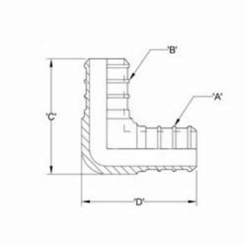 1//2 Barb Brass Zurn QQE33GX Crimp XL Elbow Pack of 50