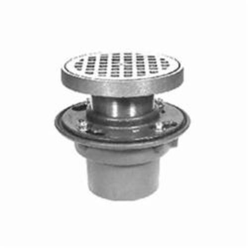 Zurn® Z415-2NH-P-L/TOP Z415N Floor Drain, 2 in Nominal, Trap Primer Connection, Cast Iron Drain