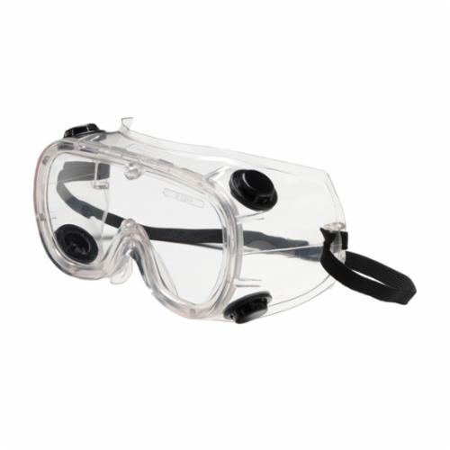 Bouton® 248-4401-300 Single Protective Goggles, Anti-Scratch Clear Polycarbonate Lens, 99.9 % UV Protection, Elastic Strap, ANSI Z87.1