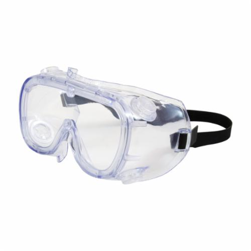 Bouton® 248-5190-300B Single Protective Goggles, Anti-Scratch Clear Polycarbonate Lens, 99.9 % UV Protection, Elastic Strap, ANSI Z87.1