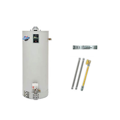 Bradford White BWU40R8KIT-SS Eco Defender Ultra Low Nox High Efficiency Energy Saver Gas 40 Gallon Water Heater Kit