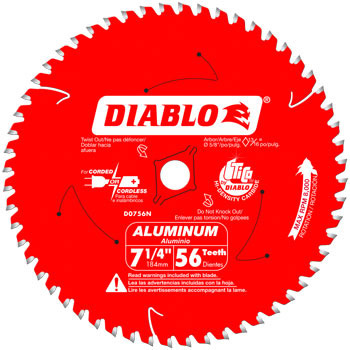 Diablo D0756N 7-1/4 in x 56 Tooth Thick Aluminum Cutting Saw Blade