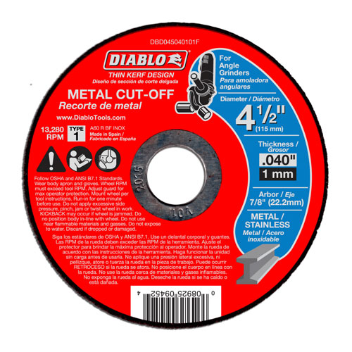 Diablo DBD045040101F 4-1/2 in Metal Cut Off Disc - Thin Kerf