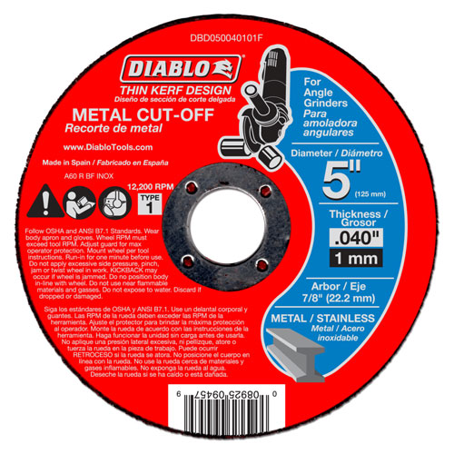 Diablo DBD050040101F 5 in Metal Cut Off Disc - Thin Kerf