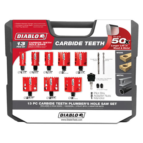 Diablo DHS13SPLCT 13 pc Carbide Plumbers Hole Saw Set