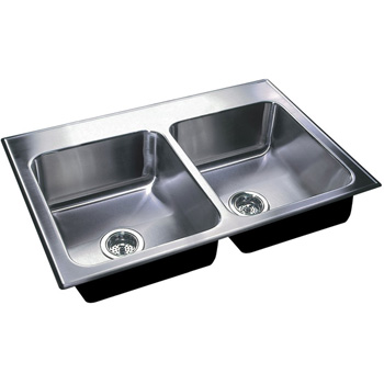 Just Sinks DL-2233-B-GR-3H Double Bowl 18-Gauge T-304 Stainless Steel Commercial Grade Drop In Sink