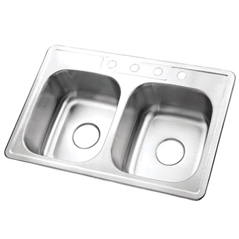 Kingston Brass K33228DBN Gourmetier Carefree Stainless Steel Double Bowl Self-rimming Kitchen Sink - Brushed Nickel