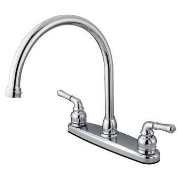 Kingston Brass KB790 Magellan Twin Brass Lever Handles 8 in Kitchen Faucet - Chrome