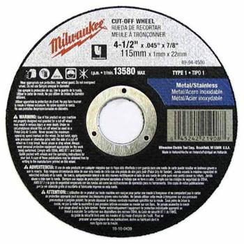 Milwaukee 49-94-4500 4-1/2 in. x .045 in. x 7/8 in. Cut-Off Wheel (Type 1)