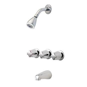 Pfister LG01-3210 3 Handle Tub and Shower Faucet with Metal Knob Handles - Chrome