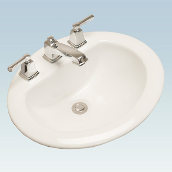 Western Pottery 172-8 20X17 in Oval Drop-In Lavatory - White